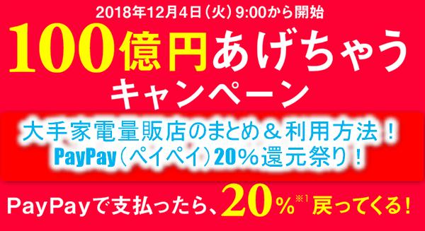 PayPay(ペイペイ)20%還元キャンペーン!お得に購入する方法!家電量販店のまとめ!