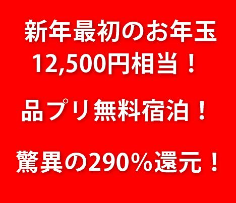 【衝撃】例の案件が驚異の290%還元!お年玉キャンペーンがヤバい!品川プリンス2泊無料のテクニック!
