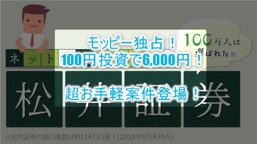 超お手軽キャンペーン!!松井証券で口座開設と投資信託(100円)で6,000円分貰っちゃおう!!