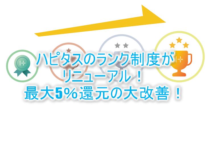 ハピタスの会員ランク制度が大幅リニューアル!最大5%還元!改善?改悪?詳細条件を解説!!